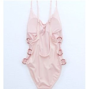 aerie blush pink 3 ring scoop one piece swimsuit